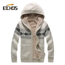 2015 Fashion Knitting Patterns Mens Sweaters Thick Sweater For Men With Hood Winter Long Sleeve Velvet Woolen Cardigan masculino