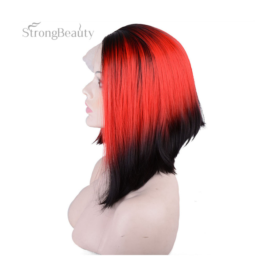 StrongBeauty Short Straight Bob Wigs Ombre Red Lace Front Two Tone Synthetic Wig
