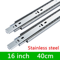 2 pairs 16 inches 40cm Stainless Steel Furniture Slide Drawer Track Slide Three Sections Guide Rail accessories for Hardware