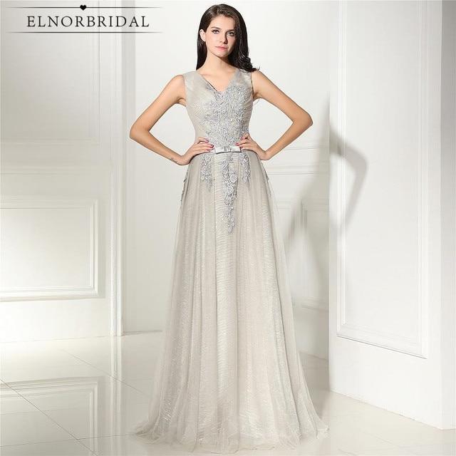 72882d47e8 Vintage plata vestidos De noche largo 2019 Vestido De Festa V cuello Formal  De mujer Celebrity
