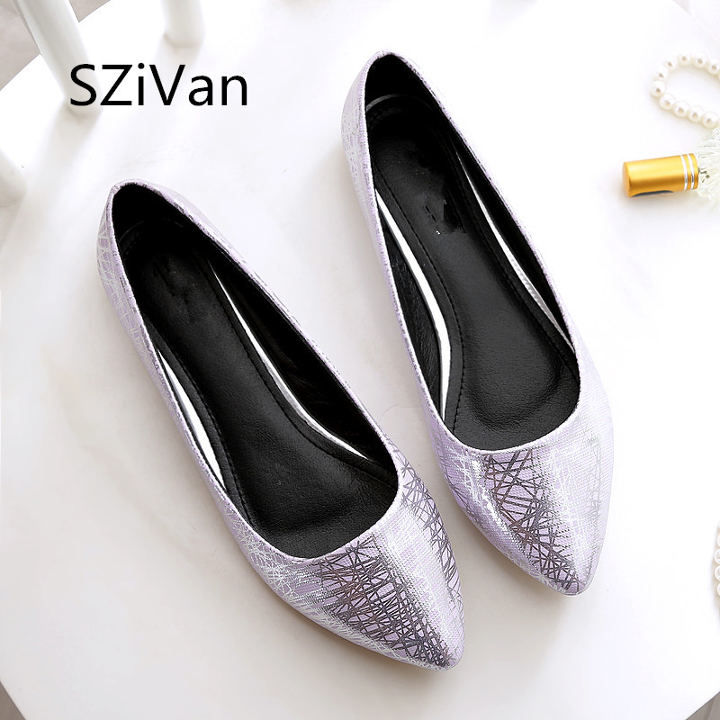 SZiVan Women casual flat heel shoes 2018 PU leather soft bottom size 33-45 pointed Toe comfortable leather Women's shoes flats baiclothing women casual pointed toe flat shoes lady cool spring pu leather flats female white office shoes sapatos femininos