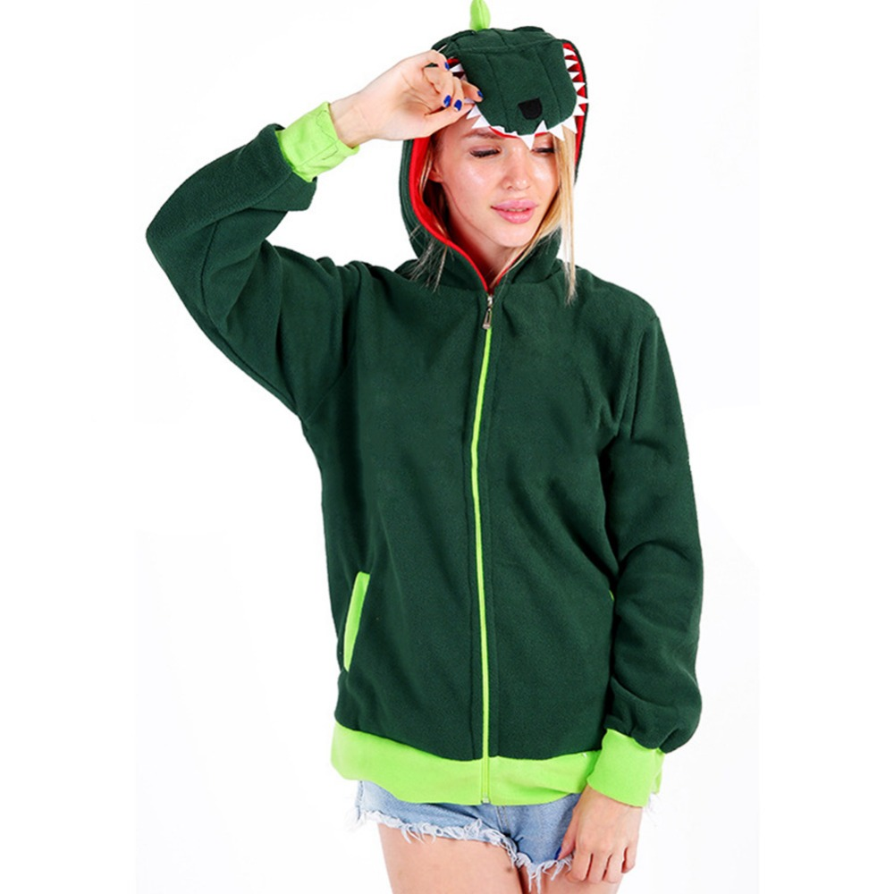 Funny Green Velvet Dinosaur Hoodie For Adult Zipper Up Hoodie