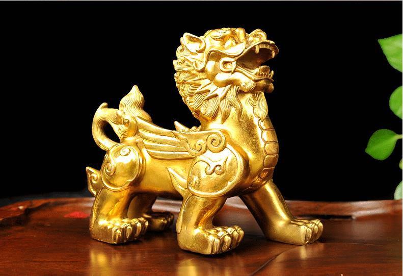 Bronze licorne sculpture dragon statue argent chance Fortune richesse chinois Feng Shui décor maison bureau ornements bon cadeau chanceux