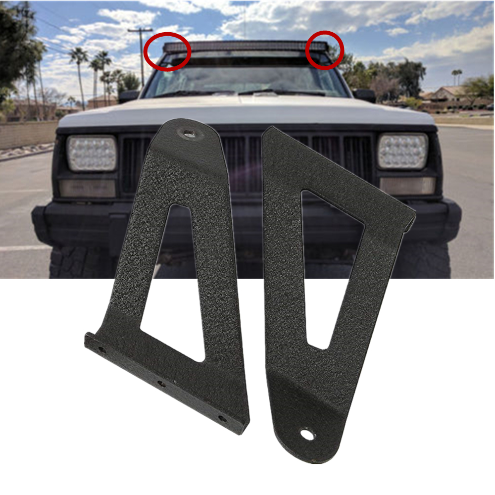 Pair LED Light Bar Mounting Brackets 50 Inch Curved For Jeep Cherokee XJ 1984-2001