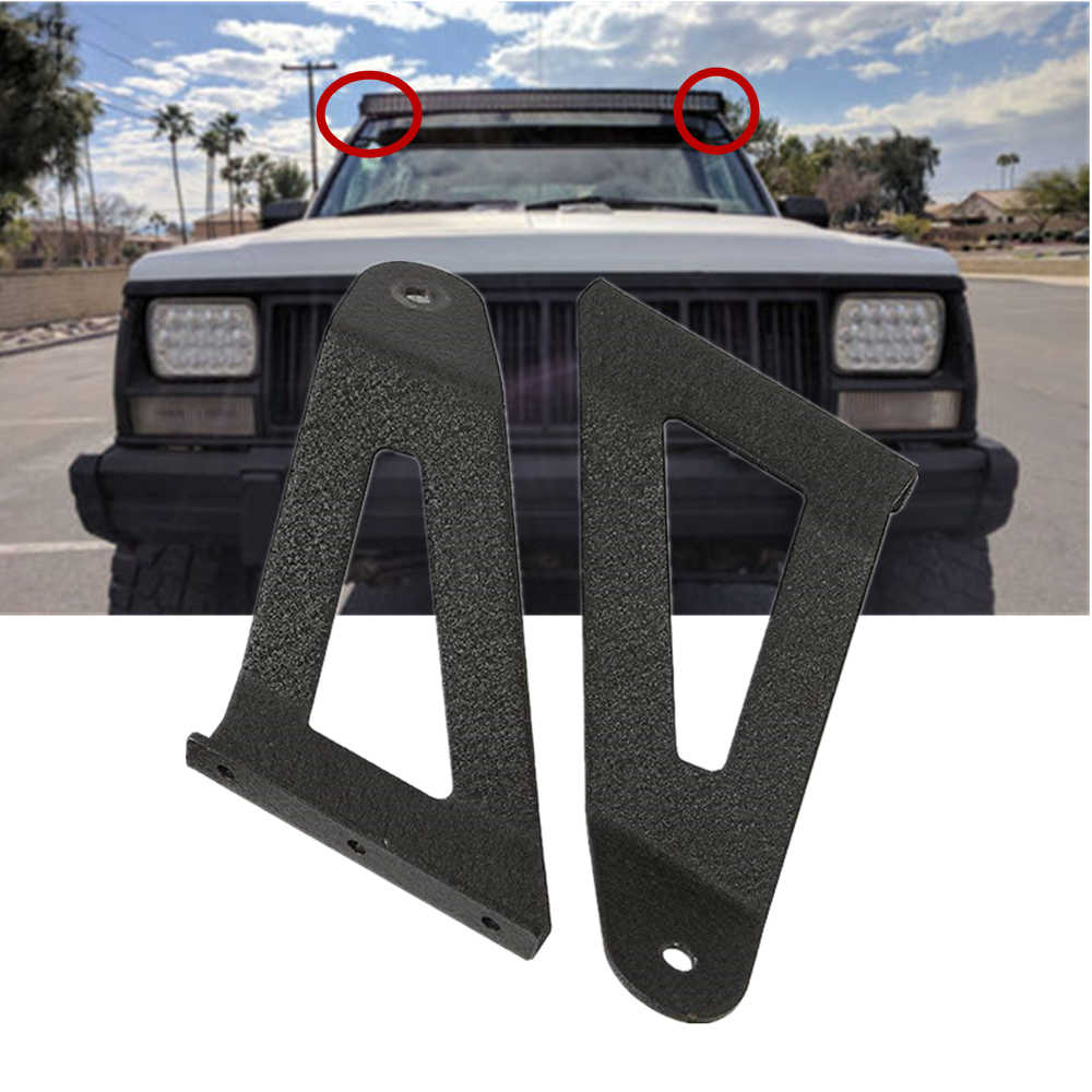 Pair Led Light Bar Mounting Brackets 50 Inch Curved For Jeep