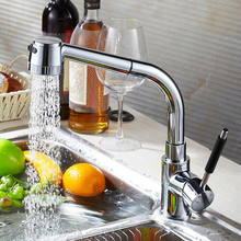 Fapully Kitchen Fixtures Faucet Chrome All Around Rotate Swivel Water Mixer Taps Pull Up Grifos De Cocina