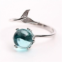 Romantic Dolphin Blue Moontone Women Elegant Ring 925 Sterling Silver Luxury Jewelry High Quality Wedding Engagement Finger Ring цены