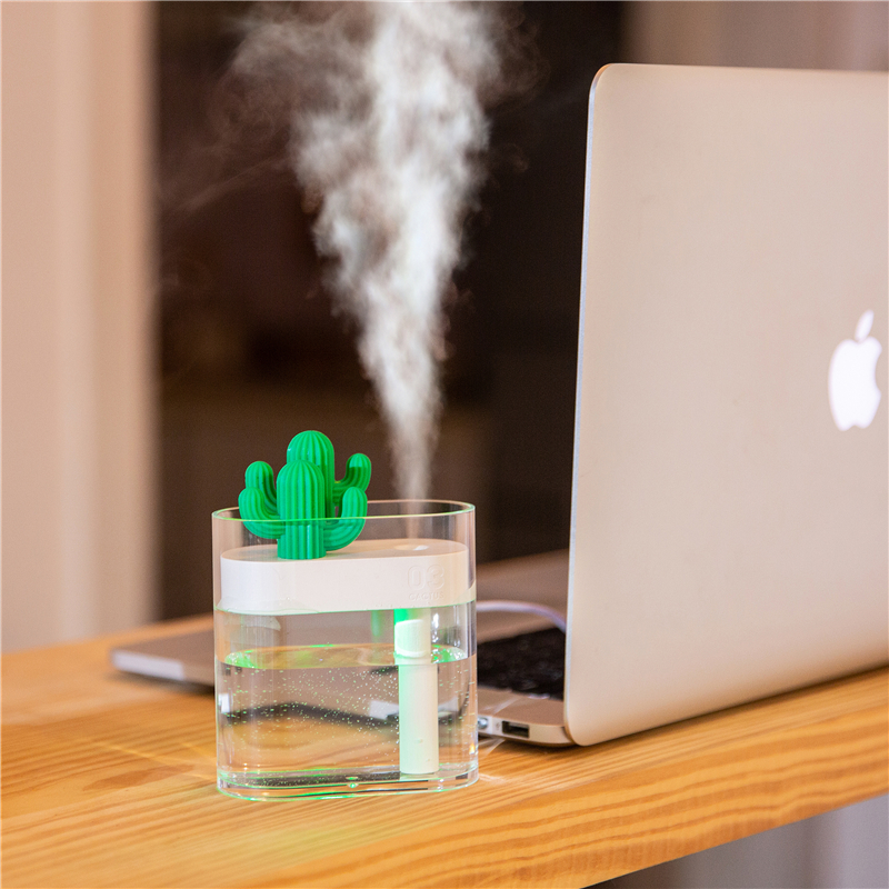 160ML Crystal Cactus Air Humidifier USB Electric Aromatherapy Air Refreshener With Colourful Light Quiet Design Nanometer Atomization