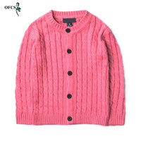OFCS Boy Sweaters Twist Design Cotton Top Warm Sweater Boys Knitting Kids Clothes Knit Cardigan Children