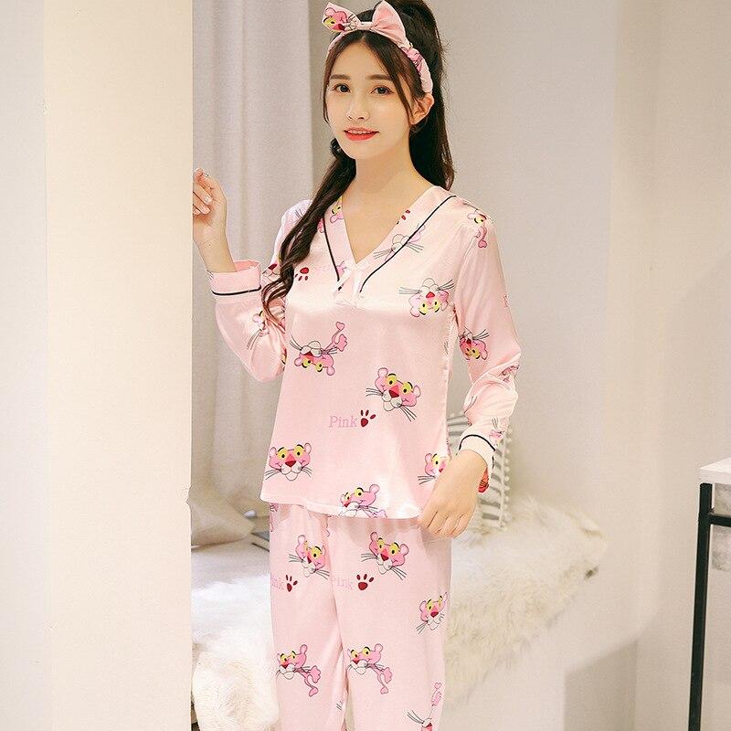 0a6edd3ef5 JRMISSLI pijamas Mujer 7 piezas Rosa conjuntos de pijamas de satén de seda
