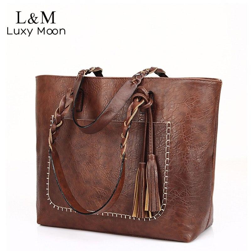Vintage Handbag Women Brown Leather Shoulder Bag Ladies Retro Tote Large PU Handbags bolso 2018 Fashion Big Black Bags XA540D цена