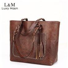 Vintage Handbag Women Brown Leather Shoulder Bag Ladies Retro Tote Large PU Handbags bolso 2018 Fashion Big Black Bags XA540D