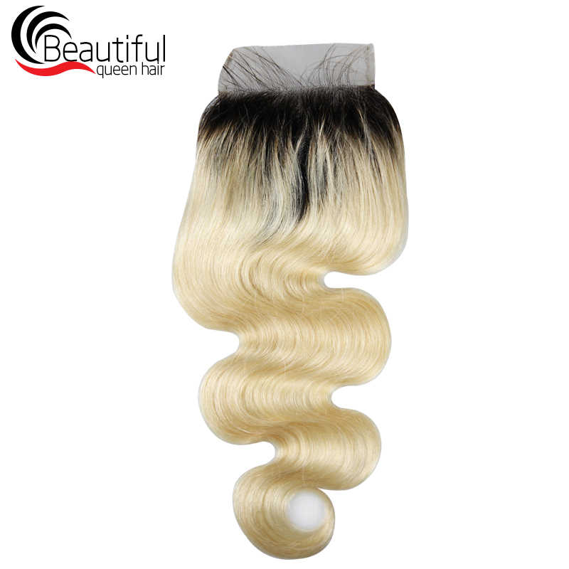 Hermosa reina pelo 10A peruano Remy cabello humano Ombre pelo rubio 3 paquetes con 4X4 Cierre de encaje 1B /tramas de cabello de onda corporal 613