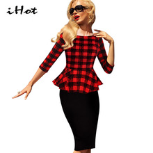 womens Work Office Dress Ladies peplum 3/4 sleeve Plaid printed slim fit sheath pencil o neck black red tartan Clothing vestidos