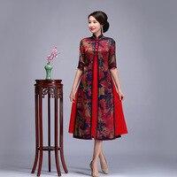 High Quality 100% Silk Cheongsam Vintage Oriental Women Handmade Button Qipao Elegant Half Sleeve Chinese Dress Plus Size 3XL