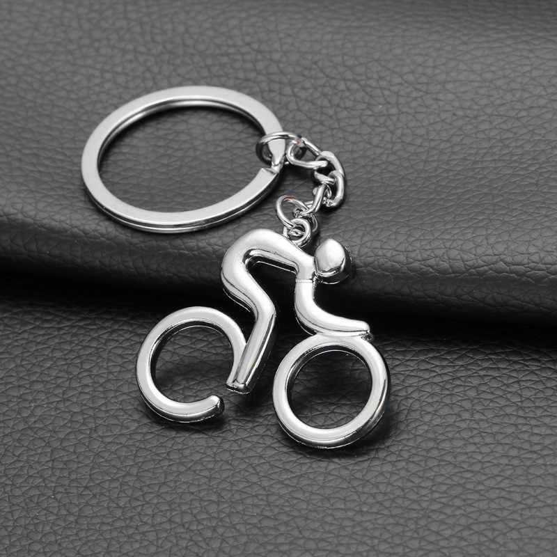 12 pçs/lote Equitação Da Bicicleta Da Bicicleta Da Liga do Zinco Abstrata Simples Cor Prata Chaveiro Chaveiro