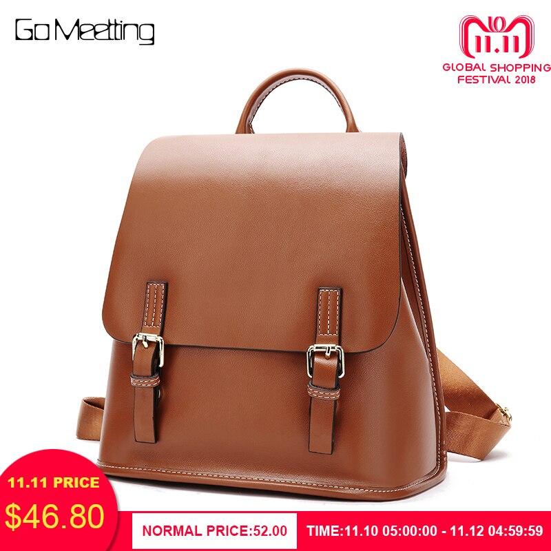 купить Go Meetting Casual Backpack Women Genuine Leather kanken Backpacks For Girls School Bag Mochila High Quality Travel Bag bagpack по цене 2961.16 рублей