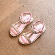 Купить с кэшбэком Top quality Summer Baby Girl Sandal Children Sandal princess sandal Fashion Rhinestone Kids Girls Shoes gold silver pink