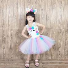 Summer Unicorn Baby Girl Tutu Dress Princess Girls Birthday Newborn Rainbow Clothes with Flowers 2009