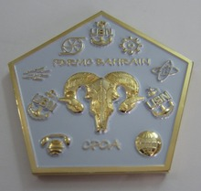 Promotional gold plated white five-pointed star coin 3D engraving cow logo coins