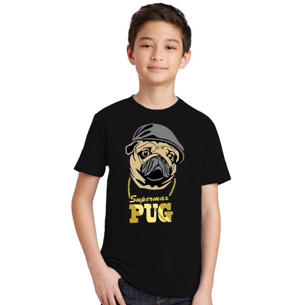 Summer New Children T Shirts Black Color Tees Pug Life the puppy Dog Printed T-Shirts kids Round Neck TShirt Boys Girls Clothes