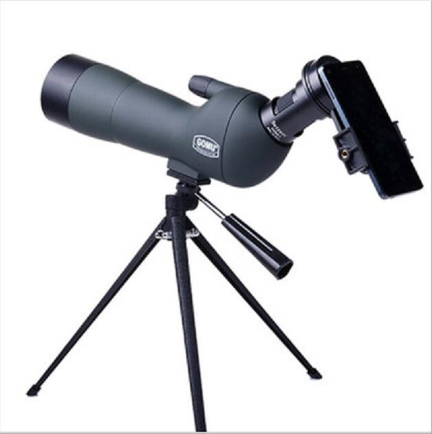 Brand GOMU 20-60x60 HD Zoom High Quality Precision Spotting Scope Telescope Tripod connection mobile phone adapter Bird Watching 8x zoom optical mobile phone telescope camera white