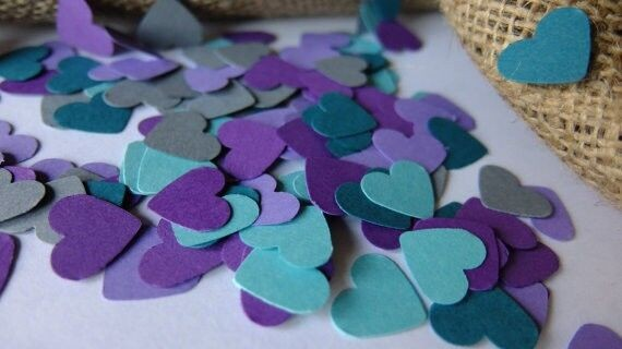 romantic wedding confetti 1inch hearts 400pcs party decoration baby shower supplies peacock purple gray wedding table scatter