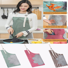 Nordic Style Adjustable Beef Tendon Coral Fleece Apron Kitchen Cooking Oil-proof Gown Barista Bakers Kitchen Supplies Lady Apron