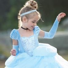 Dress-Up Cosplay-Costumes Cinderella Princess-Dresses Blue-Clothes Girls Kids Child Puff-Sleeve