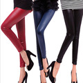 Calzas Mujer Leggins 2016 Balck Wet Look Leggings Fluorescence Color Faux Leather Skinny Leggings Feet Pants Pencil Pants  BG485