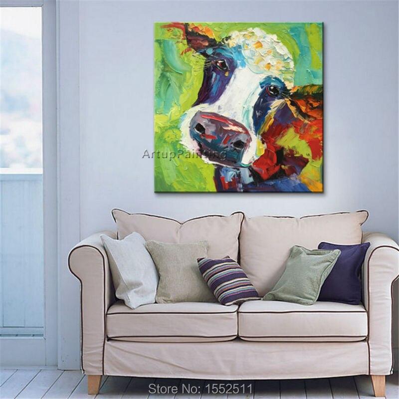 Ζωγραφική αγελάδων σε καμβά - Διακόσμηση σπιτιού - Φωτογραφία 2