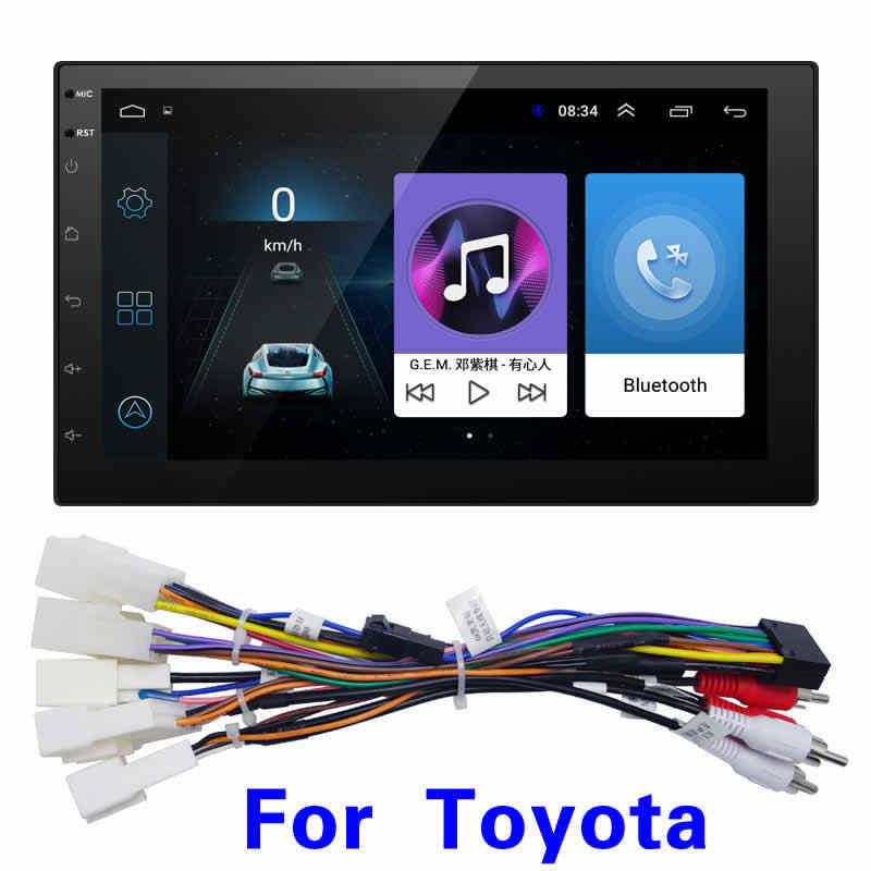 """FEELDO 7 """"インチ超薄型の Android 8.1 クアッドコア車メディアプレーヤー GPS ナビトヨタ 2DIN ISO サイズヘッドユニット # 5437-T"""