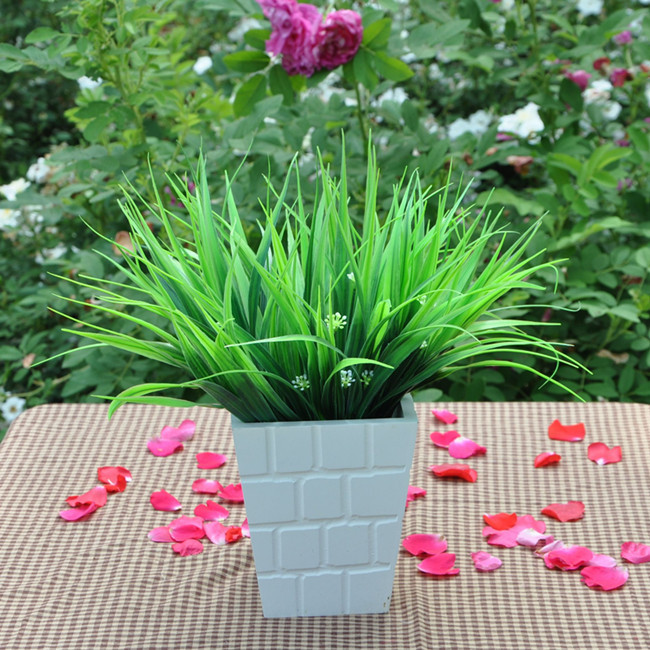 7 crosses  home party wedding Decorative Flowers diy artificial plastic grass MA1625 spring green grass