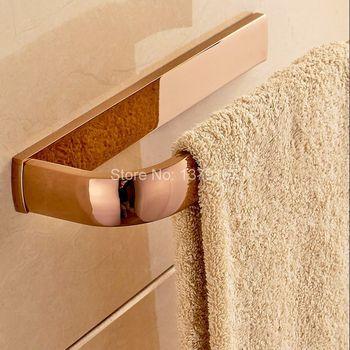 цена на Wall Mount Luxury Rose Gold Brass Bathroom Bath Hardware Towel Single Bar Rail Rack Holder Bathroom Fitting Accessory aba868