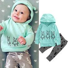 Newborn autymn winter clothing set Cartoon Baby Girl Boy 3Piggy Hoodies+Deer Long Pants 2pcs Outfits Clothes Set