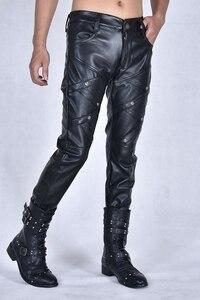 Image 5 - Nouvelle arrivla mode décontracté discothèque Costumes danse Hip hop Rock cuir pantalon loisirs hommes grande taille 27 28 29 30 31 32 33 36