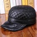 Mens Black Adjustable Leather Flat Cap Hat Biker Trucker Sports Black  B-0609