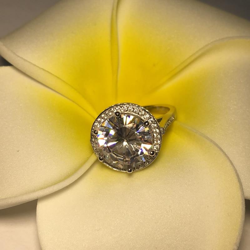 AINOUSHI luksusowe 5 CT projekt w stylu Vintage Antique okrągły Cut SONA ślub zaręczyny fantastyczny prawdziwe 925 Sterling srebrny pierścień w Pierścionki zaręczynowe od Biżuteria i akcesoria na  Grupa 3