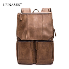 2019 Fashion New Men PU Leather Backpack Bags College Student Book Bag Travel Backpack Men Large Capacity Mochila Male nibesser military backpack men travel backpack student fashion backbag mochila 3p large capacity sack backpack travel organizer page 5