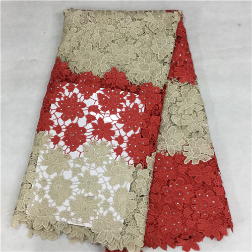 Guangzhou lina shoes, lace wax cloth co., LTD FREE SHIPPING !Cotton Guipure Cord African Lace Fabric Wholesale,african water soluble orange color 5yard/lot  colourful(16