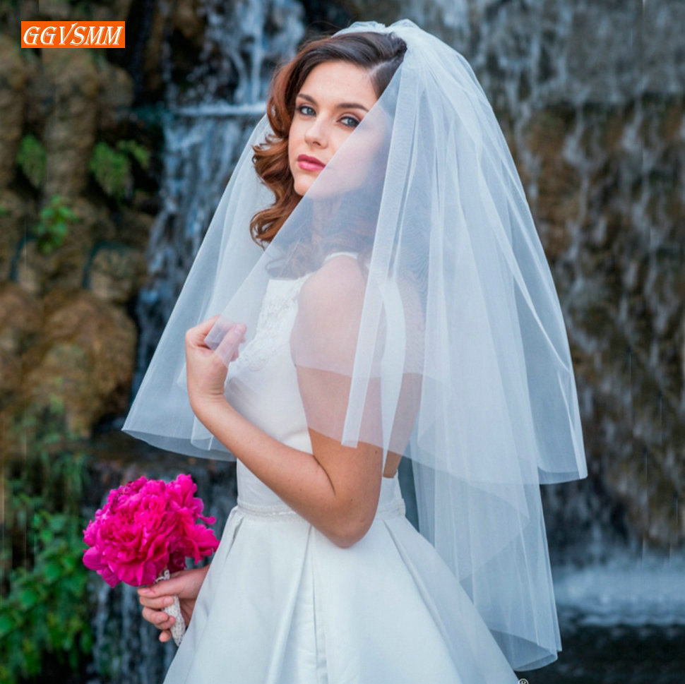 Fashion White Veil Short Tulle Bride Veils Handmade Wedding Party Accessories 0.75 Meter 2020 Cheap Bridal Veil Ivory With Comb