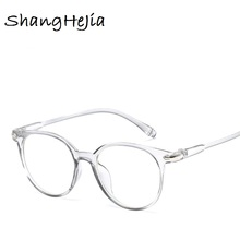 2018 Fashion Women Glasses Frame Men Eyeglasses Frame Vintage Round Clear Lens Glasses Optical Spectacle Frame cheap Red Bean Plastic Titanium Solid Frames Eyewear Accessories Shopping Party Travel T Show Driving