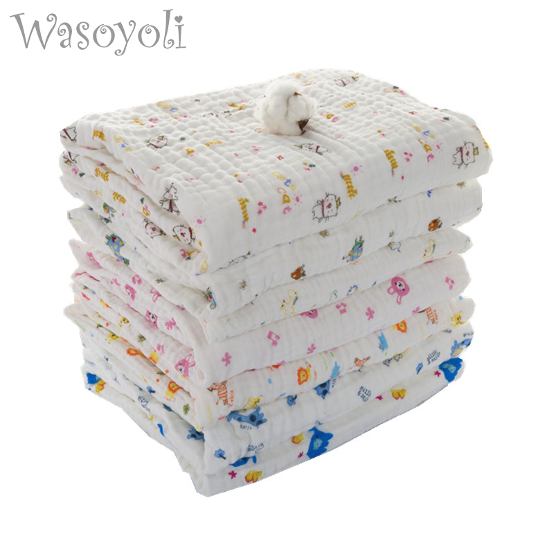 Wasoyoli Baby Swaddles 90 * 90cm 100% Seersucker Muslin Cotton 6 Layers Nyfødte Baby Quilt Dyner Soft Bath Hold Wraps