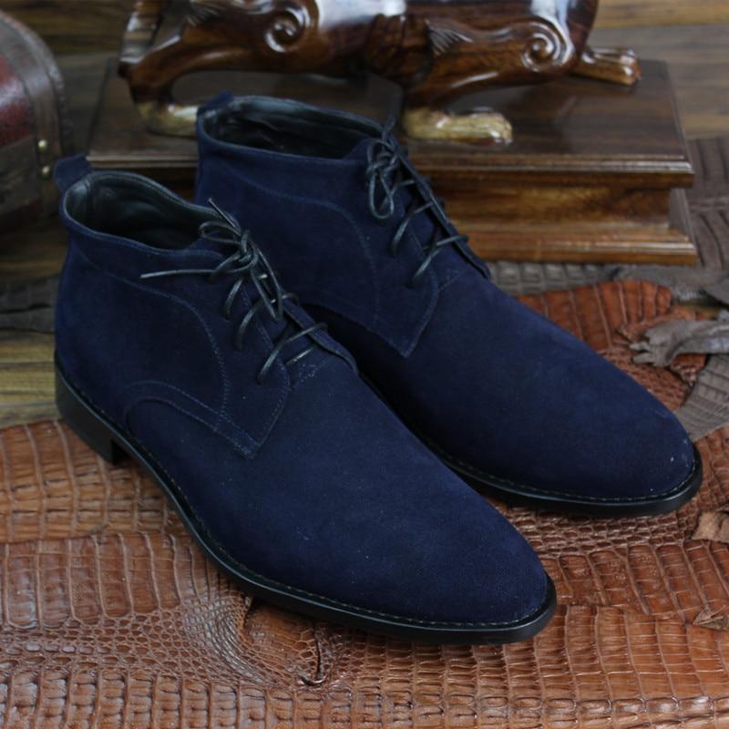 Bespoke Ankle Homens Goodyear Couro Camurça Tamanho Maloneda azul Casuais Os Botas Preto Retro Artesanal Grande Boots Marca De Para zn55FP