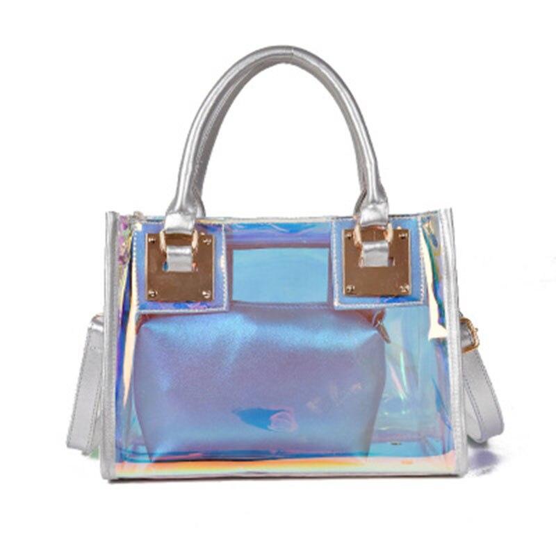 Лидер продаж прозрачные голограммы, лазерная сумка женский Harajuku Большой Tote девушка Сумки Bolsas Для женщин Белый желе сумка