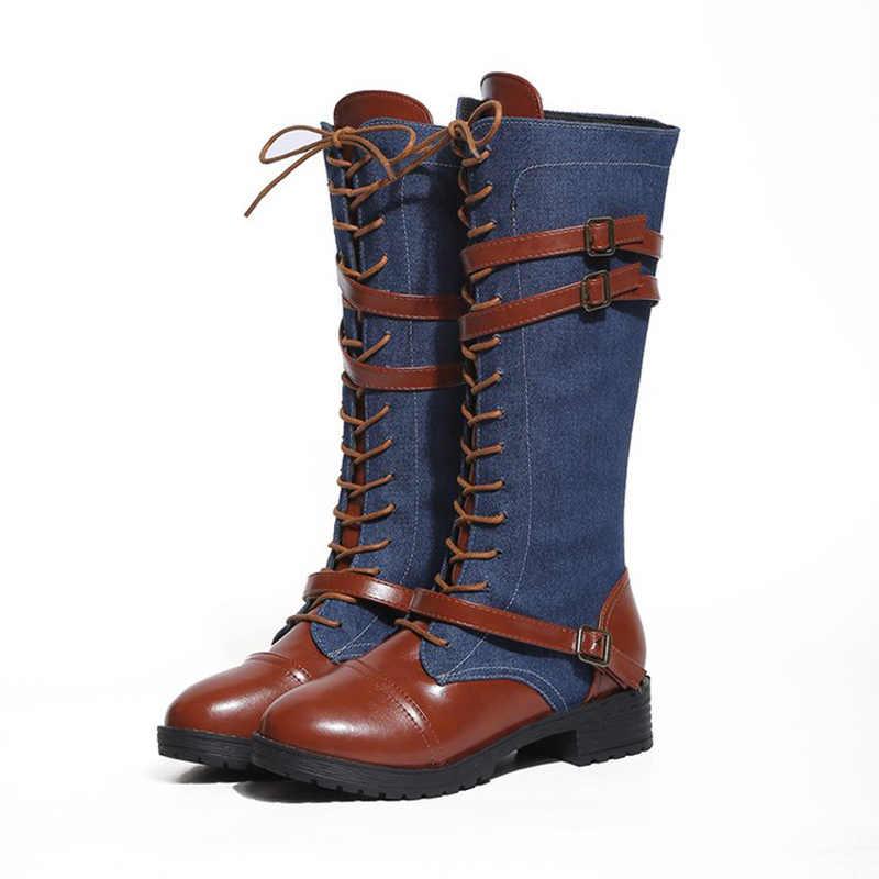 HEE GRAND, dr. Martens/Для женщин Высокие сапоги Модные осенние мотоциклетные ботинки с пряжкой на ремешке, на бретелях, модное джинсовое пинетки Mujer обувь XWX6877