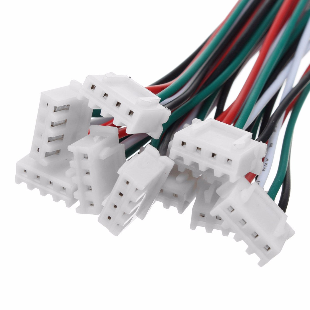 10 Set 4 Pin  JST XH Connectors Plug  2.54mm 24AWG With 150mm Length Electric Wires Cable