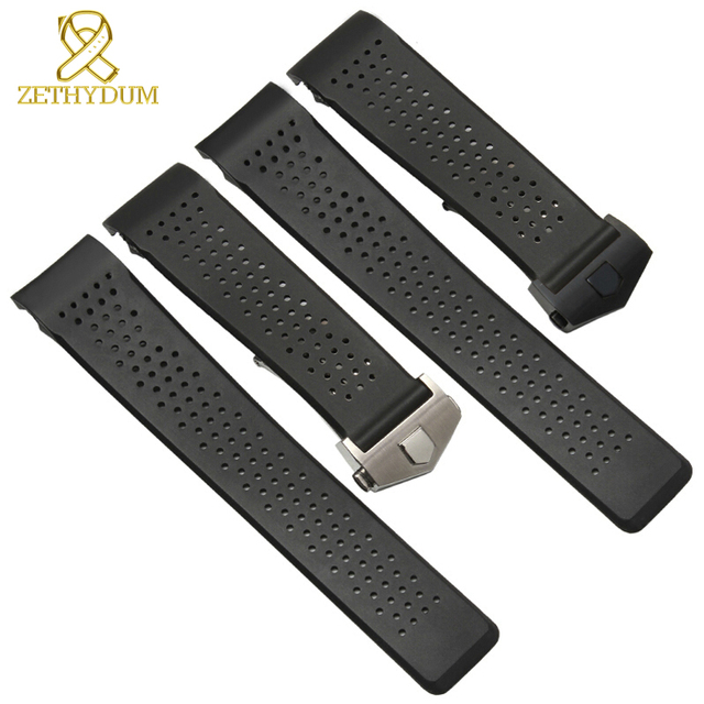 rubber watch strap 22mm 24mm silicone wristband bracelet mans watchband black wr