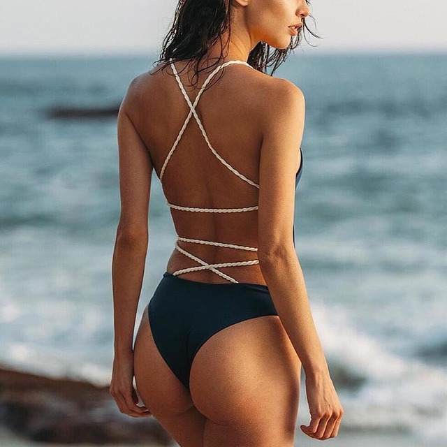 95f9bba27c BeachShiny Sexy Backless Solid One Piece Swimsuit Beach Wear Bandage 2017 Brazilian  Biquini Women Swimwear Bathing Suit