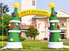 Brama powietrza nadmuchiwane boże narodzenie prop dmuchana choinka łuk tanie tanio 3A-AS16 57 1 pc Ballon CHRISTMAS PLANT 4m W Durable 210D oxford fabric Christmas decoration Sewing and Stitching the same as the picture or custom